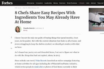 Forbes 8 Chefs Share Easy Recipes With Ingredients You May Already Have At Home
