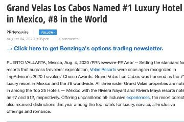 Grand Velas Los Cabos Named #1 Luxury Hotel in Mexico, #8 in the World